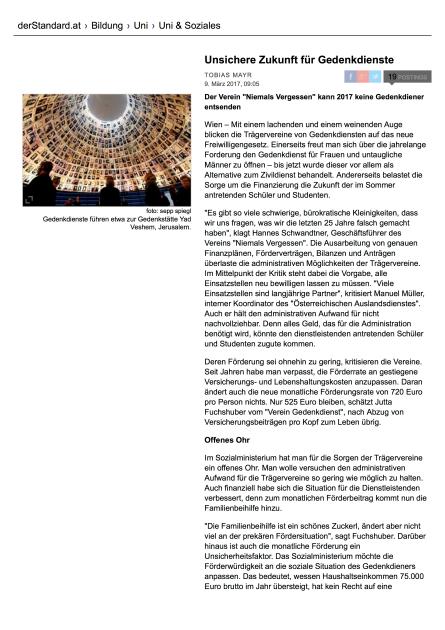 Unsichere Zukunft für Gedenkdienste - Uni & Soziales - derStandard.at › Inland